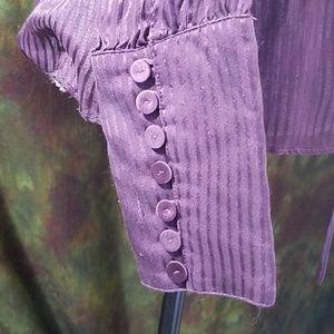 d collection Tops - Luscious Plum 💜 Pinstripe Silk Blouse